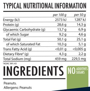 All-Natural Peanut Butter - Crunchy - Nutritional Information
