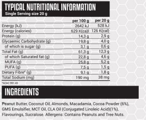 Superfood Nutbutter Spread - Chocotella - Nutritional Information